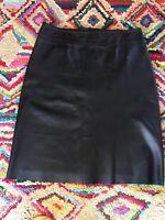 Ladies Oasis Black Leather Skirt Size 16