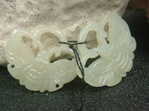 Antique Chinese Nephrite Celadon-HETIAN-OLD Jade A pair of earrings Pendant