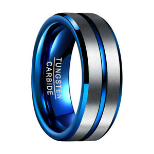 Wolframcarbid Ring Blau Silber Herren Damen 8mm Groove Design mit Ringbox