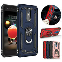 For LG Phoenix 4 / Fortune 2 Case Rugged Armor Magnetic Ring Holder Stand Cover