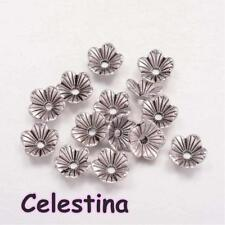 20 x Silver Tone Bead Caps Flower 8mm - Filigree Petal Bead Cones