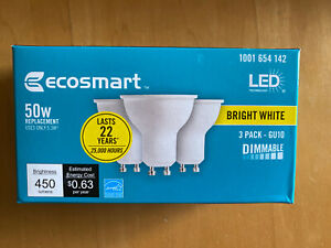 NEW- EcoSmart 50 Watt - 50W Bright White Bulbs - MR16 GU10 - Dimmable - (3 Pack)