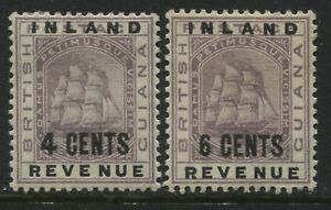 British Guiana 1889 surcharged 4 cents & 6 cents mint o.g.