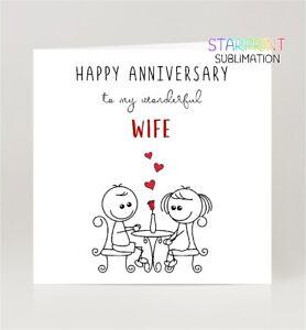 Wife Anniversary Card, Fun 'To My Wonderful' Wedding Greeting Card, Blank Inside