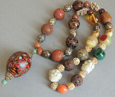 Japanese Ojime Beads Necklace Strand Wood Lacquer