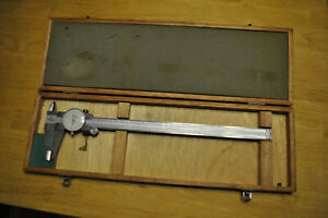 """VINTAGE MITUTOYO 505-628-50 12"""" DIAL CALIPERS IN WOODEN CASE"""