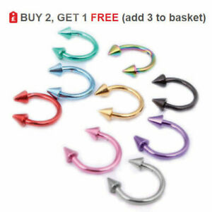 Horseshoe Bar Circular Barbell Ring Septum Lip Nose Ear 16g Colour Cone SPIKE