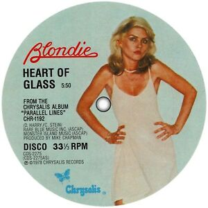 Blondie. Repro record label sticker. Heart Of Glass