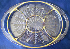 Vintage Large Serving Tray W/Two Handles & 5 Sections, Gold Trimmed