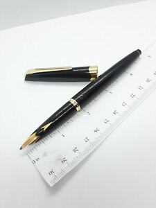 Vtg black gt Platinum P-300 fountain pen - rare 18k Music nib - Japan