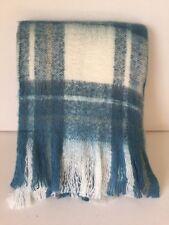 Blue Mix Super Soft Woolly Check Throw 125cm X 150cm