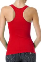 Tank top racerback one size sleeveless casual spandex form fitting top red