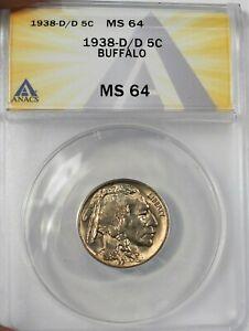 1938-D/D USA Buffalo Nickel ANACS MS 64 Condition KM#134 (911)