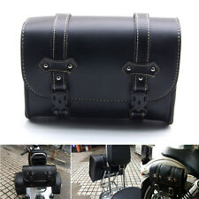 Motorcycle PU Leather Saddle Bags Saddlebags Side Storage Tool Black for Harley