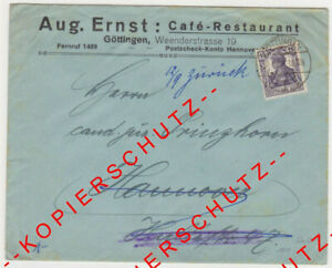 Firmenbrief-Umschlag-- Aug. ERNST -- Café - Restaurant -- GÖTTINGEN -- 1917