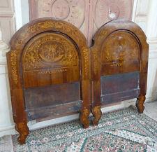 Bellissima coppia testiera di letto intarsiata a figure epoca '800