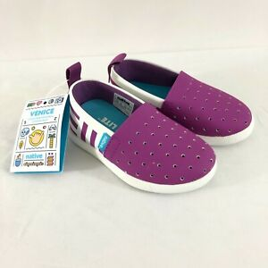 Native Toddler Girls Venice Water Shoes Slip On Laser Cut Purple White Stripe 6