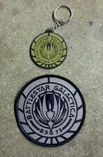 "Battlestar Galactica Bsg 75 Rubber 2"" Keychain and 3.5"" Patch Set of 2-"