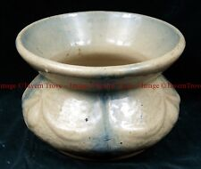 Stoneware Spittoon Cuspidor Salt Glaze Cream with Blue