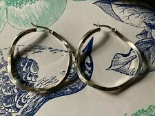Large Twisted Sterling Silver Hoop Earrings Stamped 925 Italy