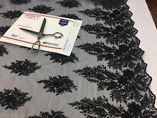 Mesh Lace Fabric Black Design Embroider And Beads Sequins-Sold by the yard.