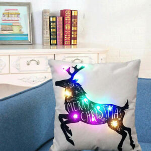 "Beautiful Christmas Decoration Reindeer Lighted Lights Pillow Case 18"" x 18"""