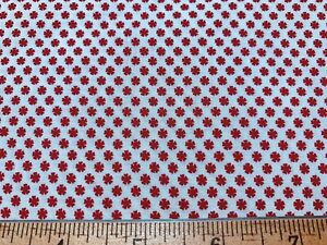 Vintage Cotton Fabric 40s CUTE Lil Red Flowers 36w 1yd