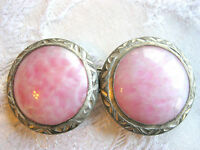 ART NOUVEAU / ARTS & CRAFTS CARVED ALUMINUM PINK PEKING ART GLASS BELT BUCKLE