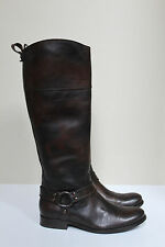 sz 8  Frye Melissa Harness Brown Leather Tall Riding Low Heel Boots Shoes