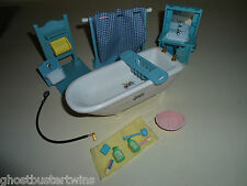 OLDER EPOCH CALICO CRITTERS MINIATURE HOUSE BATHROOM BATH TUB SINK SET LOT