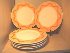 "6 pc Pagnossin Ironstone Treviso 8-1/4"" dessert  Plates - Yellow with orange"