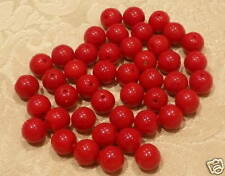30 8mm Red Czech Glass Beads+20 3mm Red Free&Free P&P