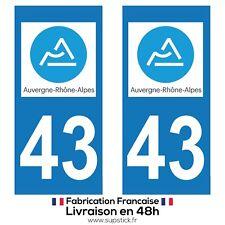 2 STICKERS AUTOCOLLANT PLAQUE IMMATRICULATION DEPT 43 Auvergne-Rhône-Alpes