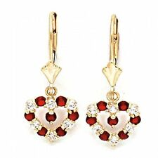 Women/Children's Stylish 14K YG Garnet January Birthstone Heart Shape Earrings