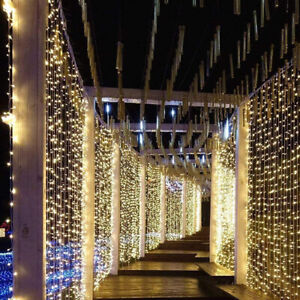 200-600 LED Curtain Light Fairy String Lights Outdoor Christmas Wedding Party