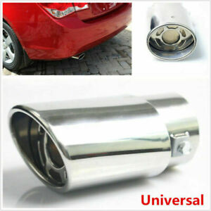 Chrome Stainless Steel Car Round Exhaust Pipe Tip Tail Muffler Cover Universal