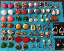 Lot of Vtg 32 pair earrings enamel Art Sarah Cov Kramer Japan rhinestone enamel