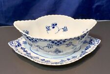 Royal Copenhagen Blue Fluted Full Lace Gravy Boat with Stand Trimmed Edge -