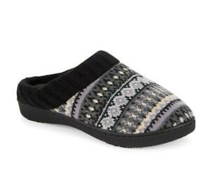 ISOTONER XL(9.5-10.5) Black Fair Isle Sweater Knit Hoodback Slippers NWT