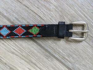 leather belt BEADED 32 black INDIAN native american