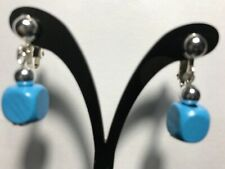 Women Fashion Jewelry Beads Gift Us Blue Earrings Clip on Dangle Cube