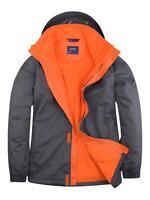 Deluxe Outdoor Jacke Gr.XS - 4XL grau orange Allwetterjacke Regenjacke Fleece