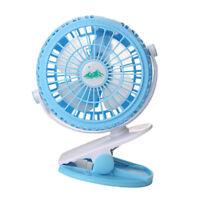 Battery Operated Clip on Desk Fan Portable Electric Fan 360° Rotation -Blue