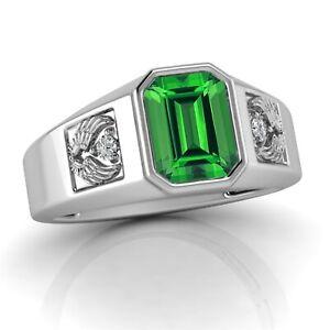 2.25 Ct Green Emerald & Diamond Emerald Cut Mens Ring 14K White Gold Finish