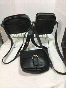 3pc. VTG COACH Black Leather Purse Bag Lot Camera ~Bedford Flap ~Camera Zip