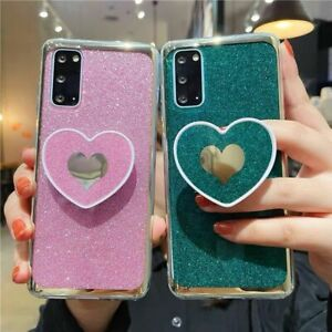 For Samsung Galaxy Note 20Ultra A71 S21 + Glitter Bling Sparkle Love Heart Case