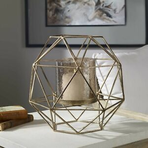 """MYAH 15"""" INDUSTRIAL MODERN GEOMETRIC IRON CAGE CANDLE HOLDER UTTERMOST 18952"""