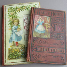 2 Antique Sm VICTORIAN 19thC Children's Illustrated STORY BOOKS Pictorial Covers