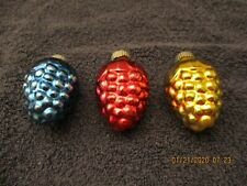 "(3) Vintage Shiny Brite 2 1/4"" Grape Christmas Tree Ornaments"