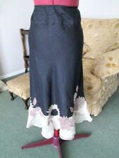 PLANET-BLACK LINEN A LINE SKIRT-2 LAYER SILK FRILL-APPLIQUED BEADED FLOWERS-12.